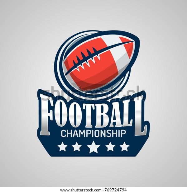 American Football Logo Template Vector Design Stock Vector