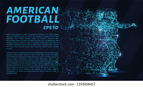 American football made up of particles.Football player throws a ball. Vector illustration