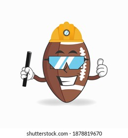 The American Football mascot character becomes a mining officer. vector illustration