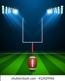 American football on field with goal post, vector