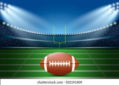 American football on field of stadium with spotlight. Vector illustration.