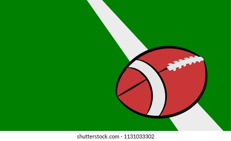 American football on the green field, vector illustration