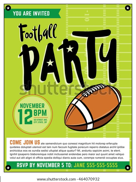 An American football party flyer template illustration. Vector EPS 10 file is layered.