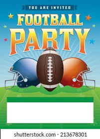American football party illustration. Vector EPS 10. EPS contains transparencies. Fonts have been converted to outlines.