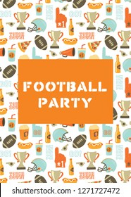 American Football party invitation card. Helmet, trophy, beer, foam finger, fast food, go and touch down lettering background. Vintage style vector design for tailgate party, super bowl, flyer, decor.