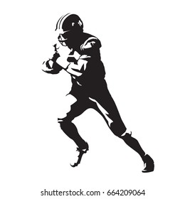 American football player, abstract vector silhouette, running man