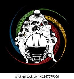 American Football player action, Group of sportsman player, sport concept graphic vector.