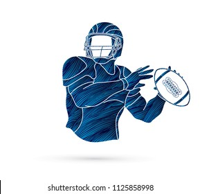 American Football player action, sport concept designed using grunge brush graphic vector.