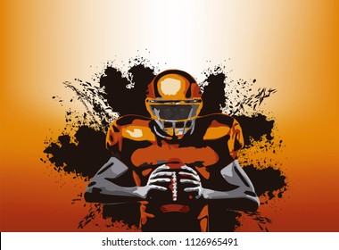 American football player with a ball in a orange background