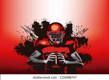 American football player with a ball in a red background