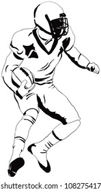 American football player with the ball. Vector illustration.