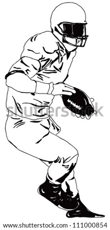 American Football Player Ball Vector Drawing Stock Vector Royalty