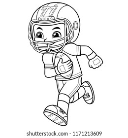 American Football Player Boy Running With Holding Ball BW.