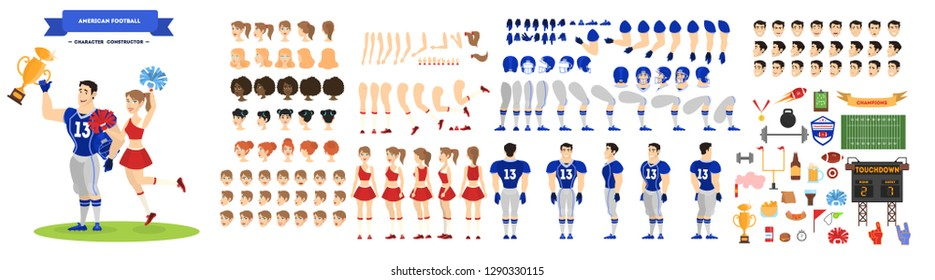 American football player and cheerleader character set for the animation with various views, hairstyle, emotion, pose and gesture. Isolated vector illustration in cartoon style
