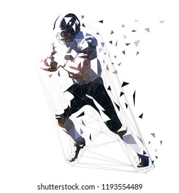 American football player, low polygonal isolated vector illustration. Side view. Running quarterback with ball, geometric athlete