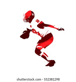 American football player, quarterback abstract red vector silhouette