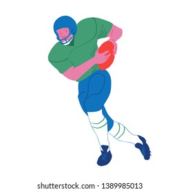 American football player. Quarterback runs with ball. Vector flat illustration. Avatar, the people isolated on white.