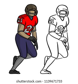 american football player in red jersey shirt running vector illustration sketch doodle hand drawn with black lines isolated on white background