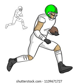 american football player running with the ball vector illustration sketch doodle hand drawn with black lines isolated on white background