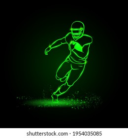 American football player runs away with the ball. Green Neon American football Sports Vector Illustration.