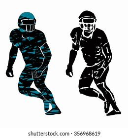 american football player silhouette, grunge illustration, white background