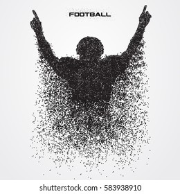 american football player of a silhouette from particle.