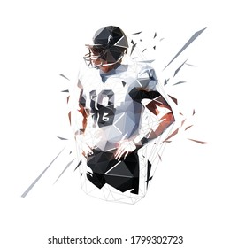 American football player standing with hands on hips, low polygonal isolated vector illustration. Geometric logo from triangles