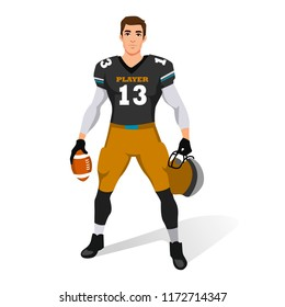 American football player standing holding helmet and ball. vector illustration isolated on the white