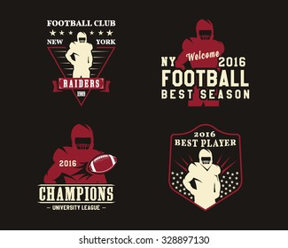 American football player, team badges, logos, labels, insignias in retro color style. Graphic vintage design for t-shirt, web. Colorful print isolated on a dark background. Vector illustration