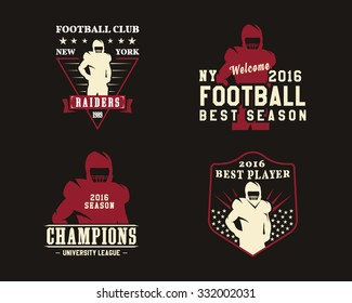American football player, team badges, championship logos, labels, insignias in retro color style. Graphic vintage design for t-shirt, web. Colorful print isolated on a dark background. Vector.