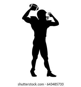 american football player uniform helmet ball silhouette