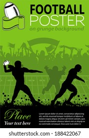 American Football with Players and Fans on grunge background, element for design, vector illustration
