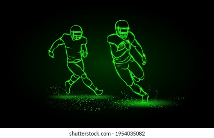 American football players. Runaway player with ball and the catching player behind. Green Neon American football Sports Vector Illustration.