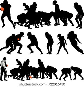 American football players silhouette - vector