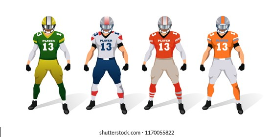 American football players. Uniform. Character set. Vector illustration. Isolated on the white background