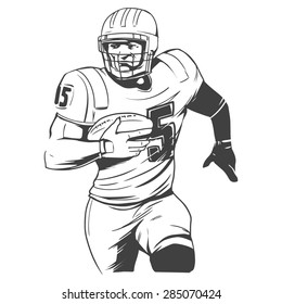 american football players vector illustration inking on isolated white background
