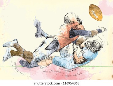 American football players. Vector several layers hand-drawn illustrations. At least four layers in each picture. The color layers is a maximum of sixteen colors. Black outlines in a special top layer.