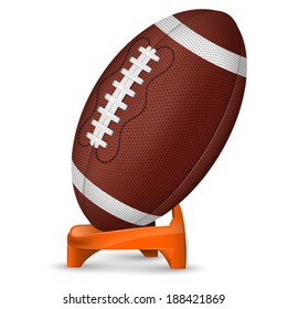 American Football Poster with Ball and Stand, vector icon isolated on white background