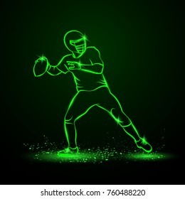 American football quarterback throws the ball. Green Neon Sports Vector Illustration.