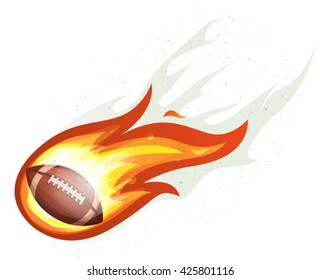 American Football Rocket Ball Burning/ Illustration of a cartoon american football ball flying inside comet fire with burning flames