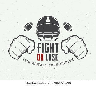 American football or rugby motivation with helm, fists and ball in vintage style. Vector illustration