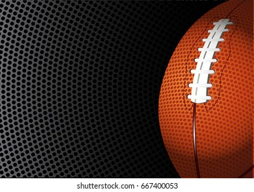 American football rugby on black circle mesh design for sport background vector illustration.
