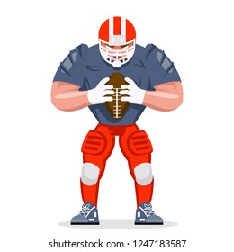 American football rugby player character sport aggressive isolated cartoon design vector illustration