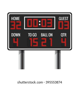 american football scoreboard sport game time guest and home vector illustration