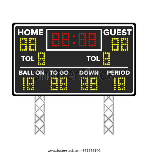 American Football Scoreboard. Sport Game Score. Digital LED Dots. Vector Illustration. Isolated On White Background