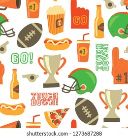 American Football seamless vector pattern. Super Bowl, Helmet, trophy, beer, foam finger, fast food, go and touch down lettering. Vintage style background. For tailgate party, invitation, decor, flyer