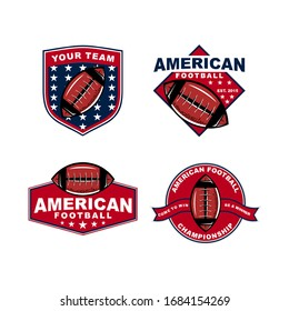 american football set logo template vector colorful