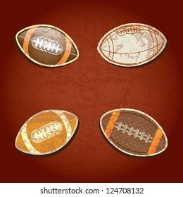 American Football set, on grunge background with retro colors