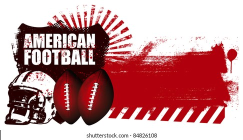 american football shield with grunge red banner