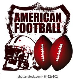 american football shield with helmet and balls